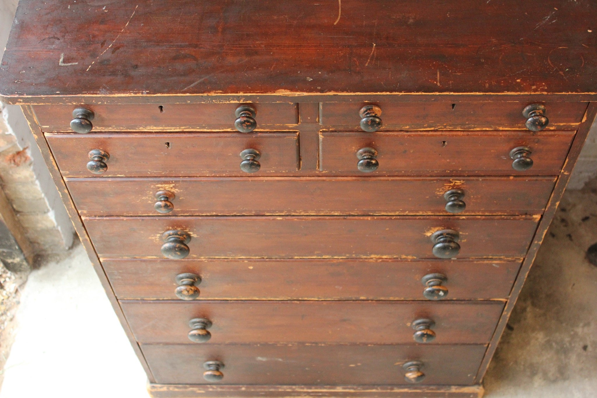 A Large & Unusual Mid-Victorian Stained Pine Chest of Drawers c.1860-70