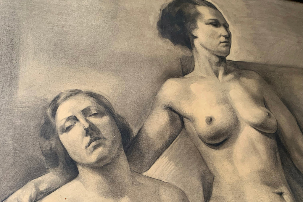 Karl Goossens (b.1914); A Large Pencil & Charcoal Study of Two Nude Females; Dated to 1936