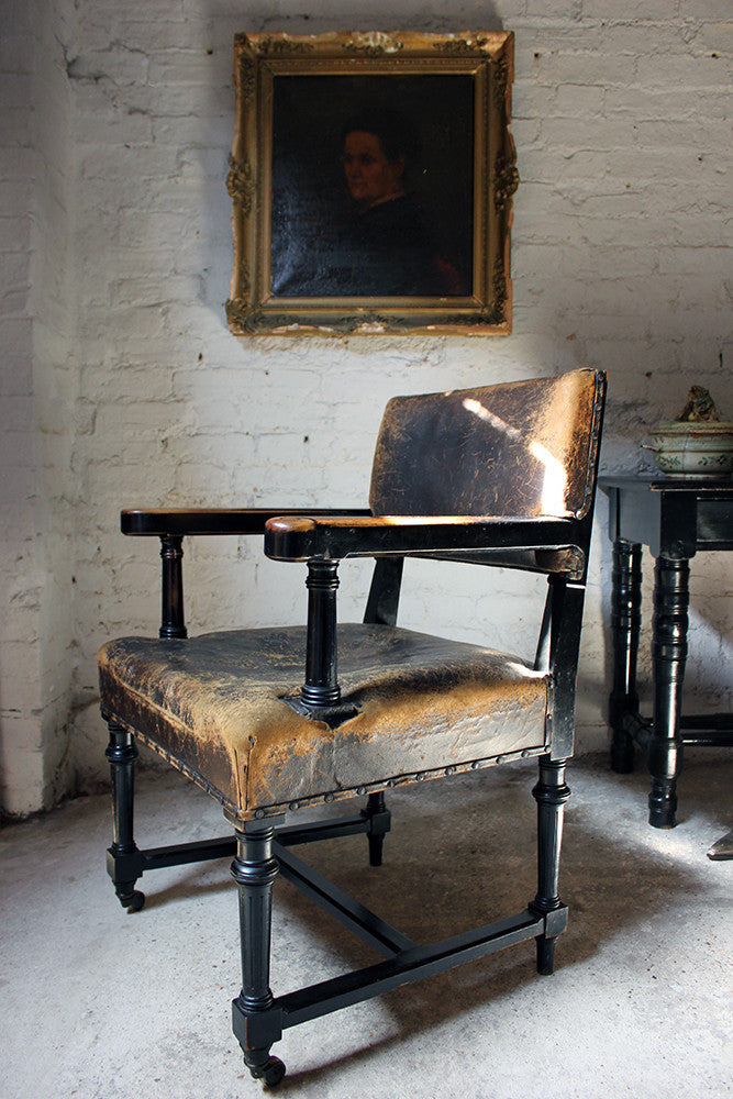 A Good Victorian Aesthetic Movement Ebonised & Leather Upholstered Armchair c.1880