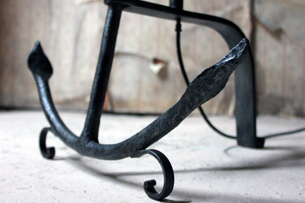 An Unusual Early 20thC Wrought Iron Standard Lamp as an Anchor