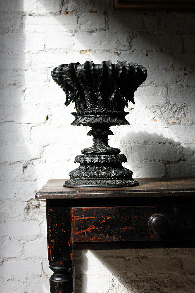 A Very Fine & Profusely Carved Anglo-Indian Bombay-Blackwood Urn c.1830-50