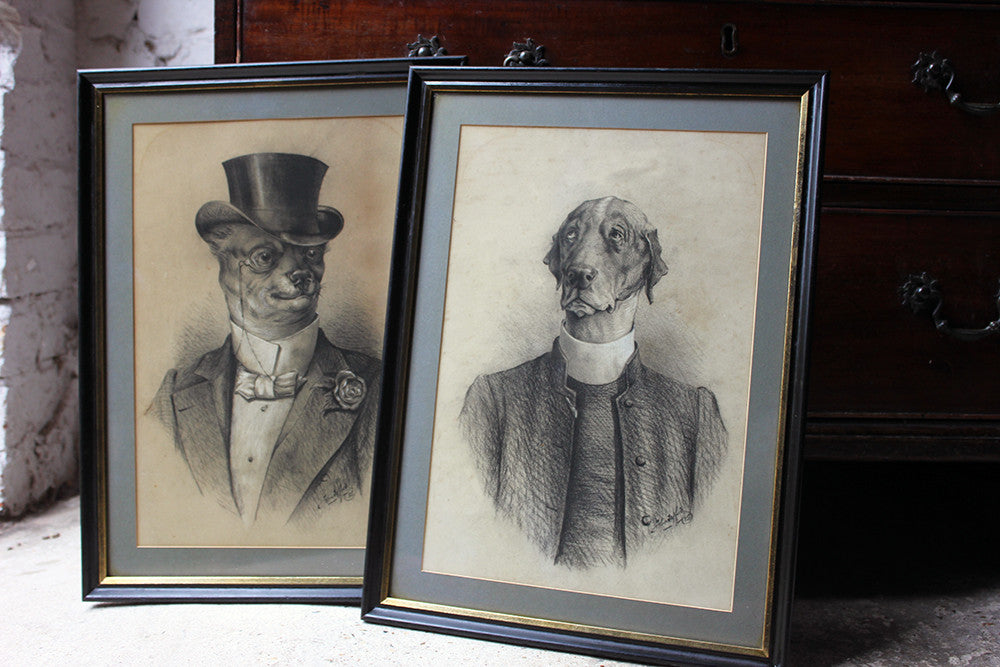 A Wonderful Pair of c.1885 Charcoal Portraits of Anthropomorphised Hounds