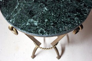 An Art Deco Period Circular Serpentine Marble & Gilded Metal Occasional Table c.1920-30