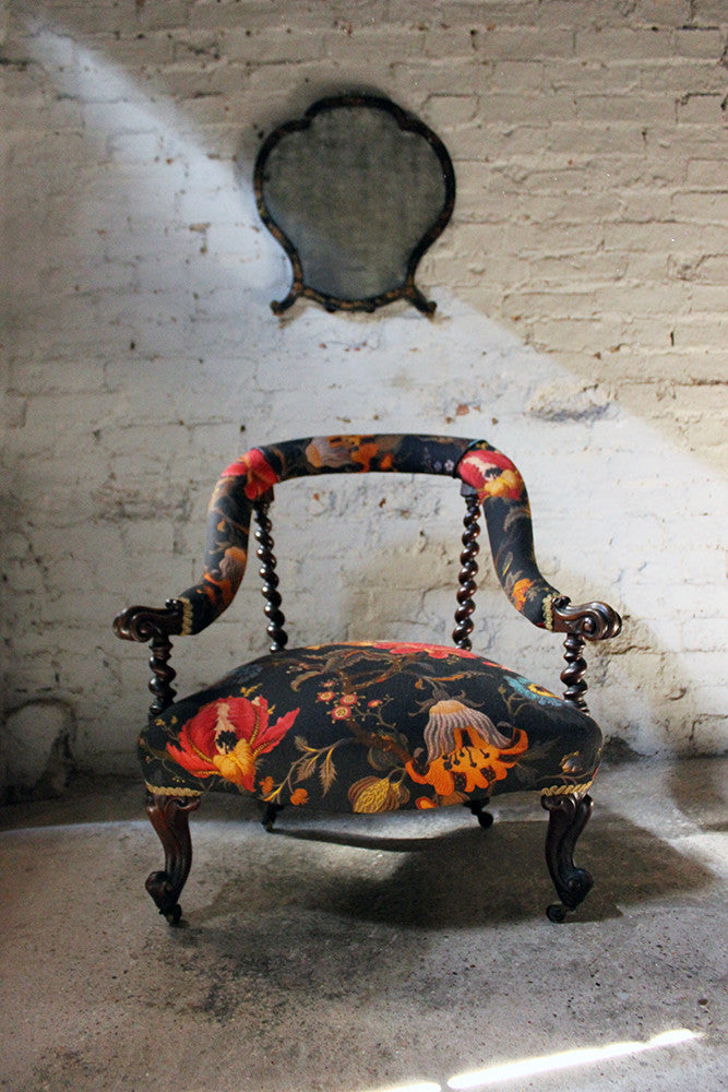A Striking Victorian Walnut Horseshoe-Back Upholstered Armchair c.1870