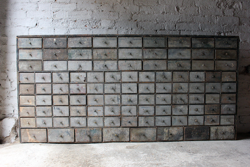 A Large & Rare Early 19thC Bank of 100 Painted Pine Artist's Supplier Pigment Drawers c.1830