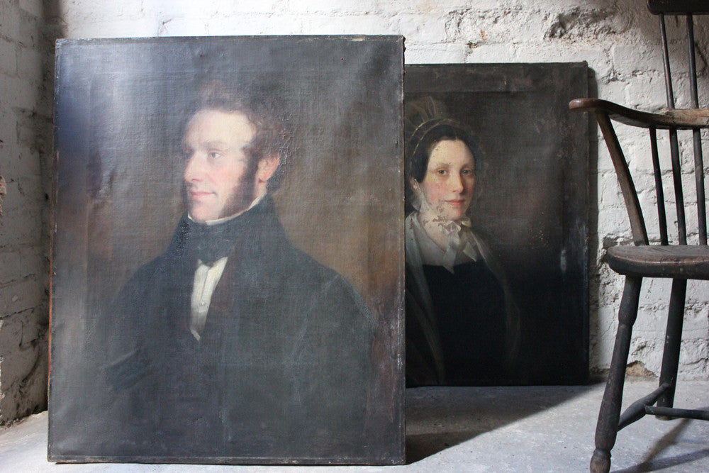 A Good Pair of c.1840s English School Provincial Oil on Canvas Portraits of a Gentleman & His Wife