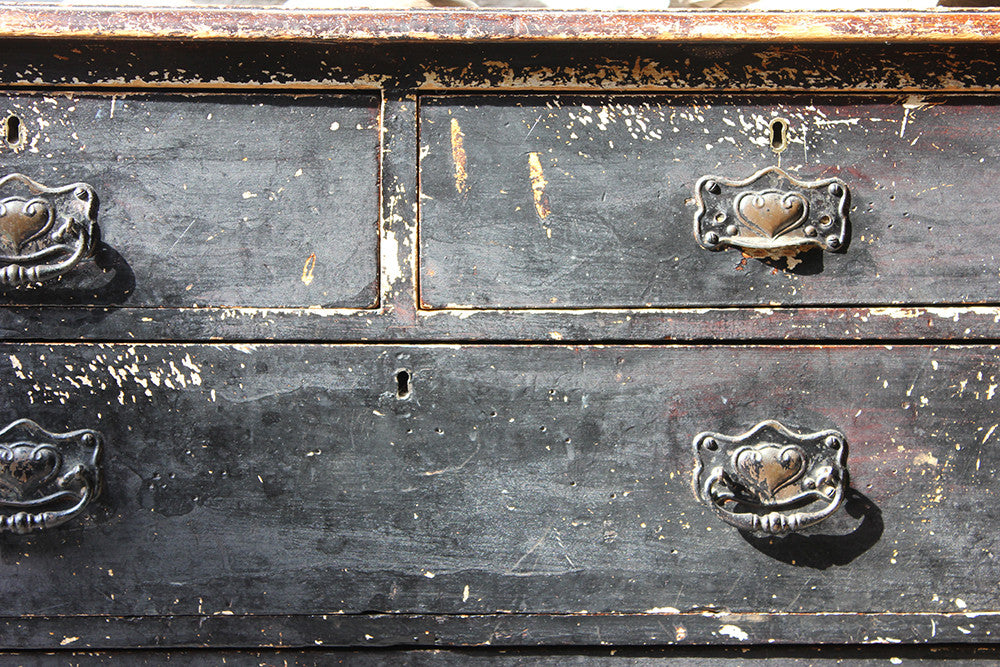 A Decorative c.1900 Black Painted Pine Chest of Drawers