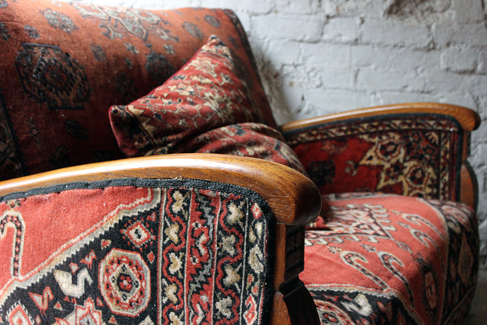 An Attractive Two Seater Belouch Carpet Upholstered Sofa c.1940