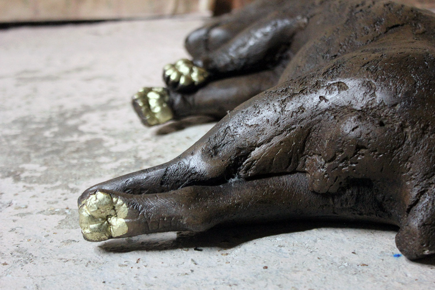 Beth Carter; Badger; Bronze Resin & Gilded Paws; 2010; Edition 2 of 15