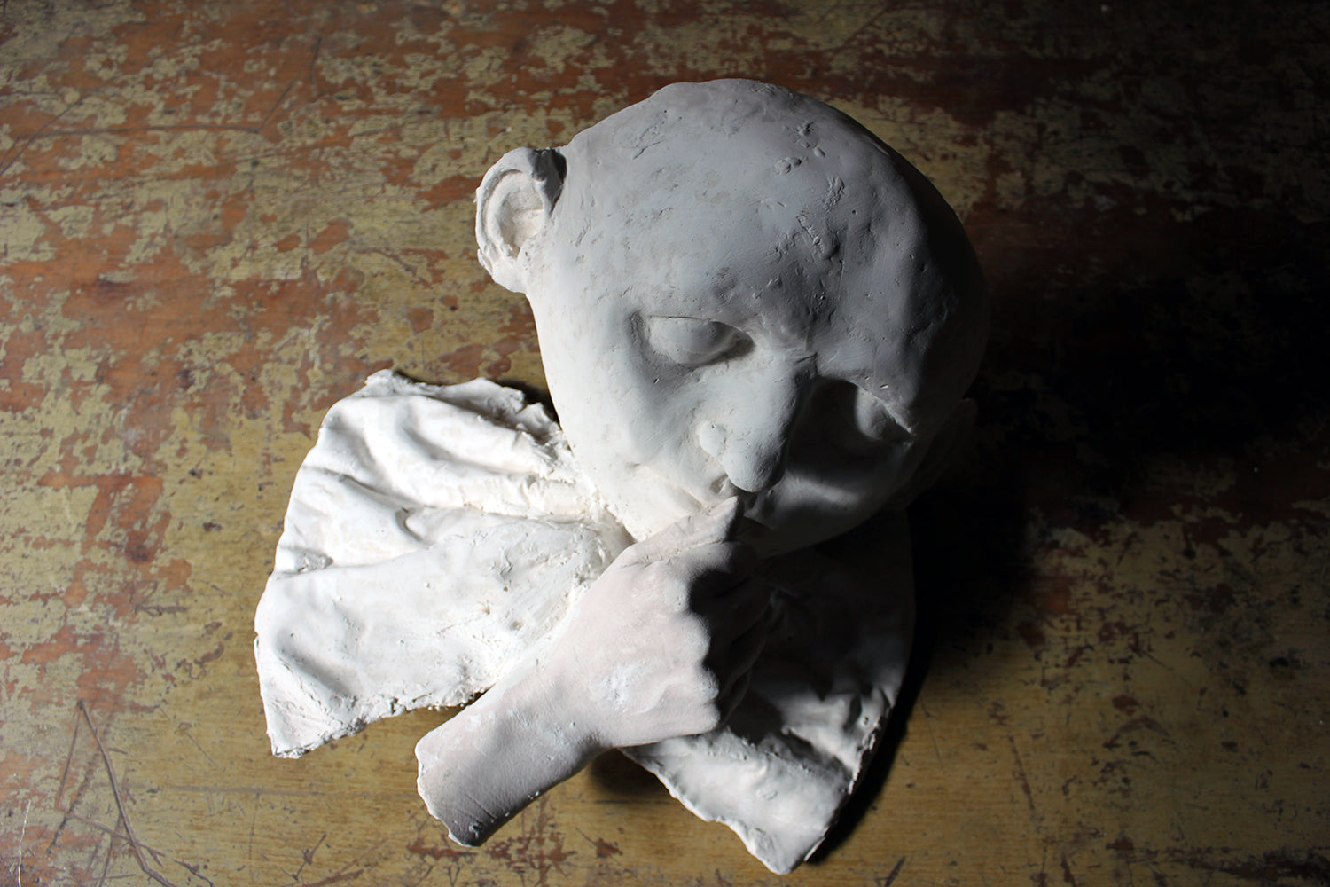 Beth Carter; 'Young Clown Mask with Bow & Collar'; Jesmonite & Plaster; Unique