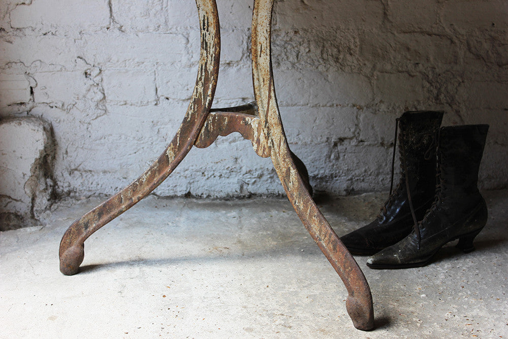 A Good Early 20thC French Cast Iron Industrial Bistro Table
