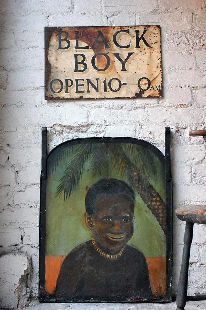 Two Decorative c.1935 Tavern Signs for the Black Boy Pub, Stockton, Norfolk, UK