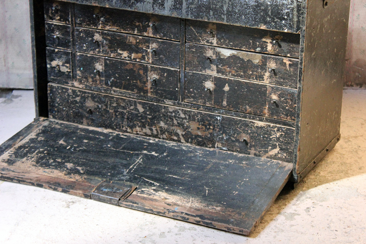 An Early 20thC Scratch Built Black Painted Pine Carpenters Tool Chest c.1910-25