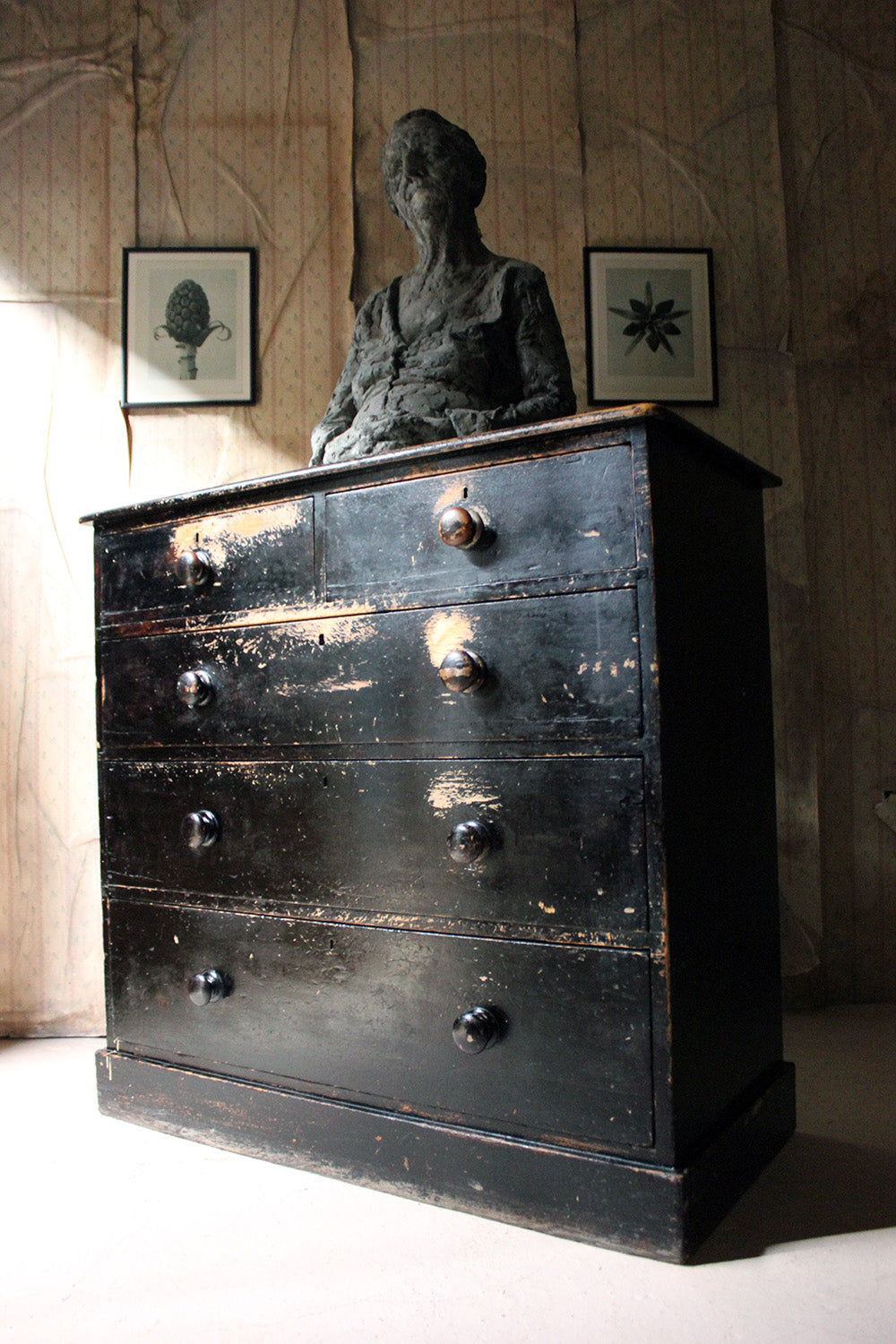 A Victorian Black Painted Pine Chest of Drawers c.1870-80