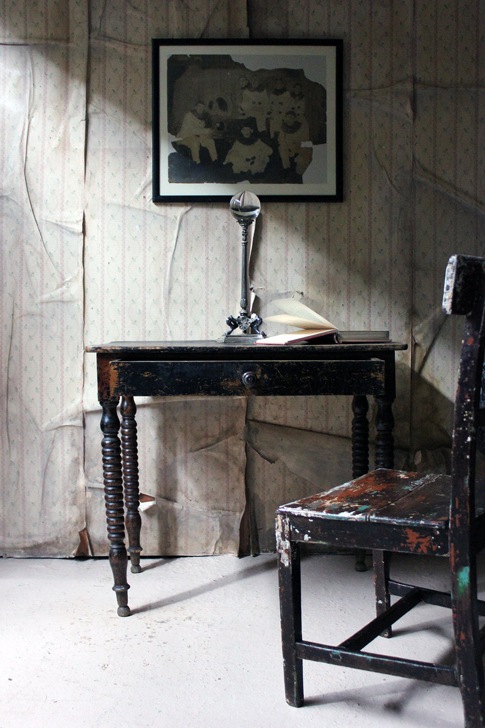A Mid 19thC English Black Painted Fruitwood Side Table c.1840