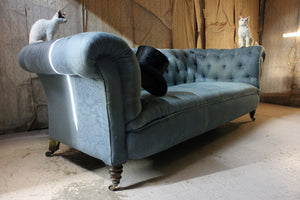 A Late Victorian Blue Upholstered Button-Back Chesterfield Sofa c.1890