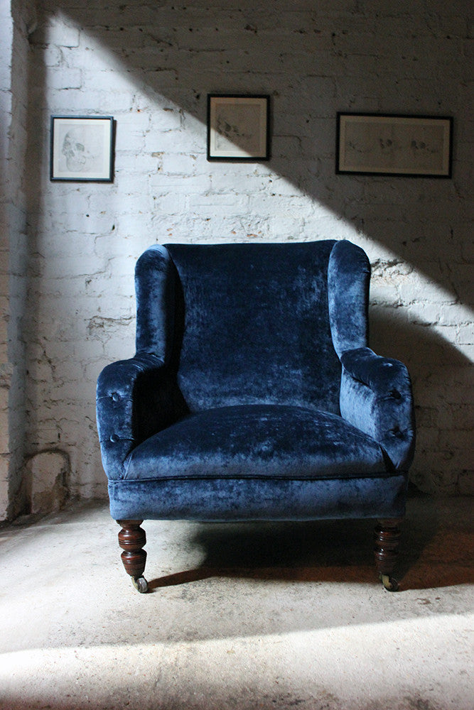 A Very Good Walnut & Velvet Upholstered Victorian Wingback Easy Chair c.1895-1905