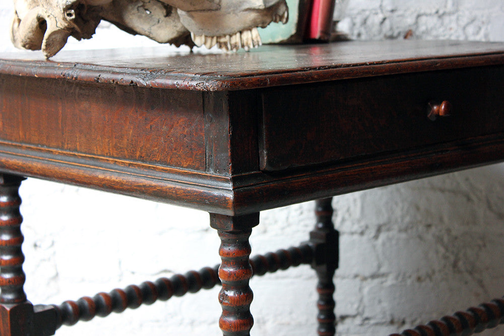 A Good Late 17thC Pine & Oak Bobbin Turned Side Table c.1680