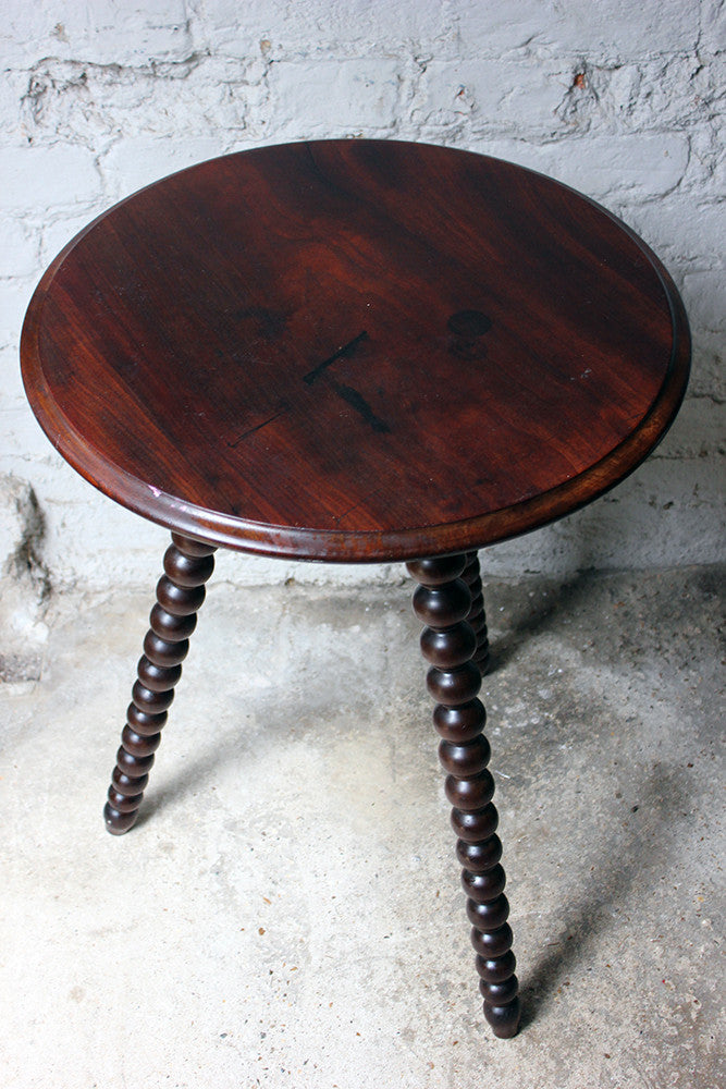 An Attractive Walnut & Mahogany Bobbin Turned Occasional Table c.1890-1900
