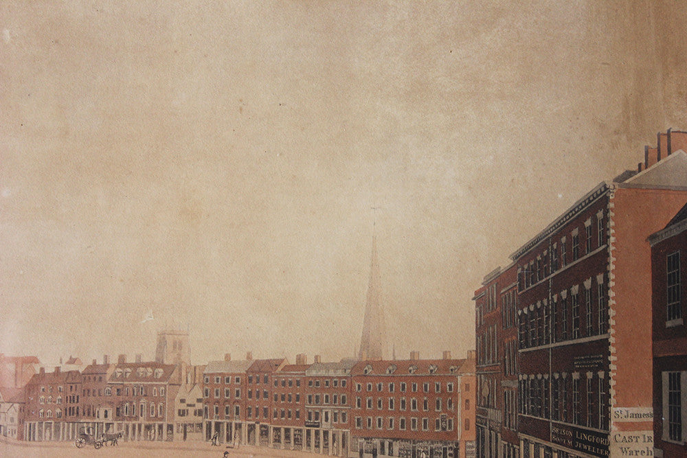 A Perspective View of Nottingham Market Place; A Hand-Coloured Aquatint Drawn by Richard Parkes Bonington. c.1813