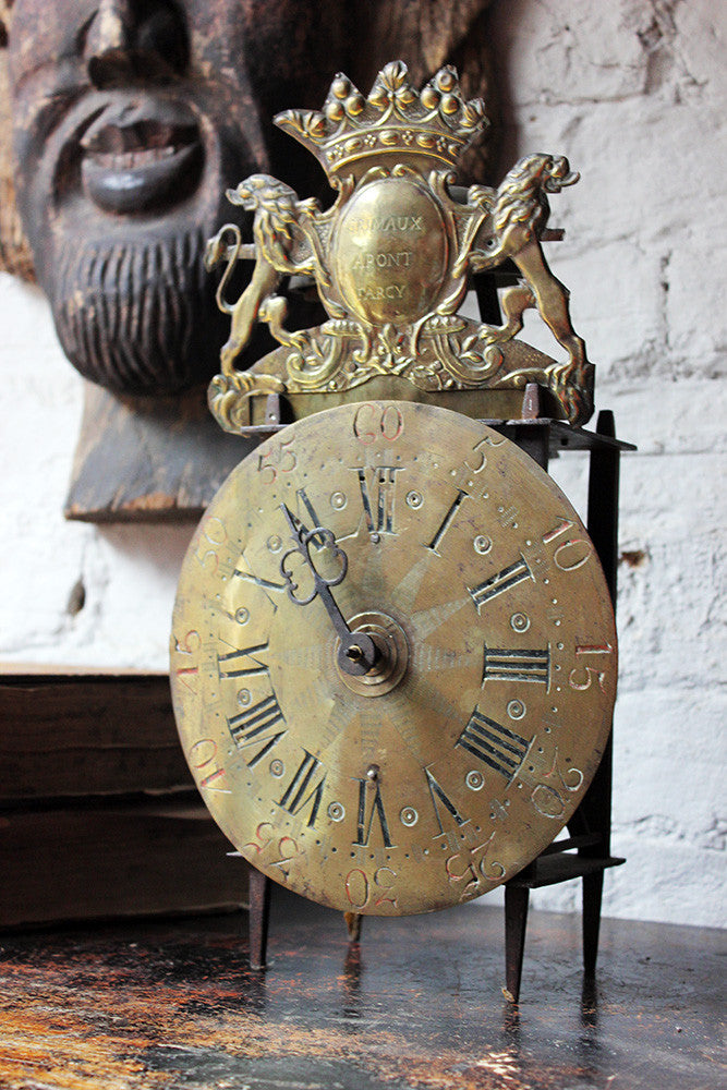 A Wonderful c.1740 Continental Provincial Forged Iron Rack-Striking Chamber Clock