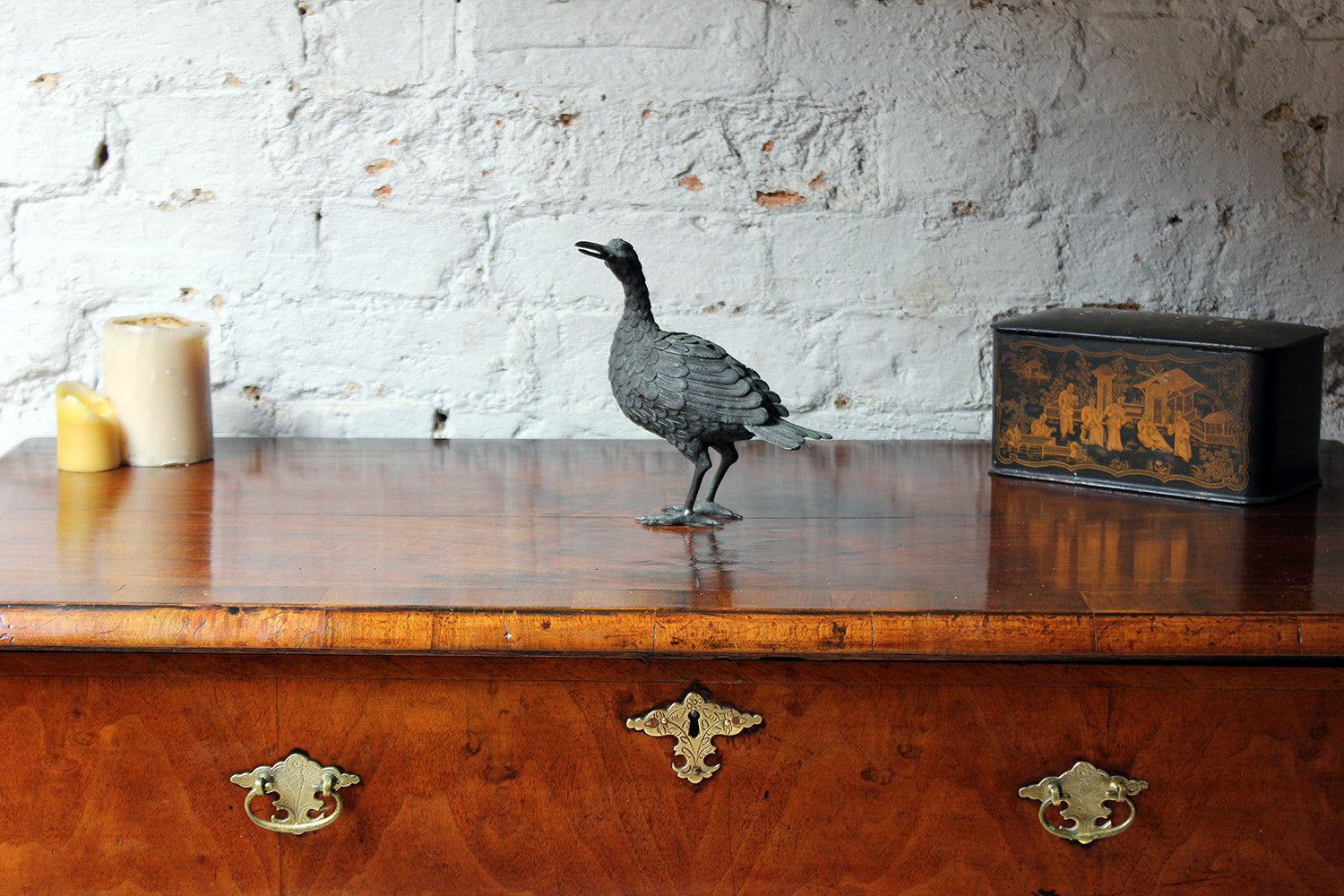 A Good c.1900 Patinated Bronze Incense Burner Formed as a Water Bird