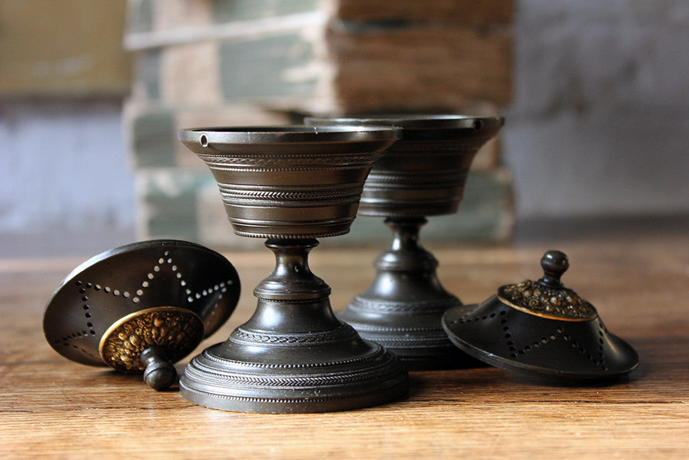 A Fine Pair of French Empire Bronze Perfume Burners c.1810