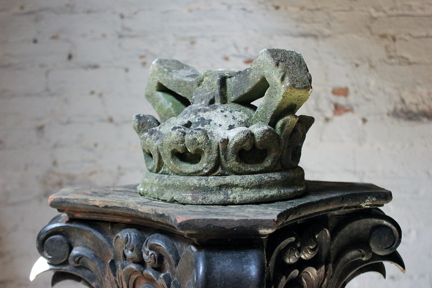 A Superb French Caen Limestone Carving in the Form of a Hooped Crown c.1840-60