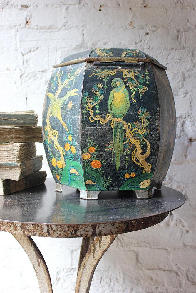A Very Pretty Hexagonal Chinoiserie Decorated French Toleware Tin for Krema Butter Candy c.1935