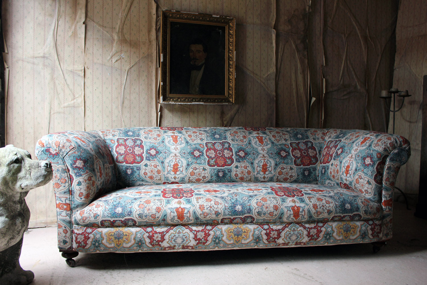 A Late Victorian Upholstered Chesterfield Sofa Attributed to James Shoolbred c.1890