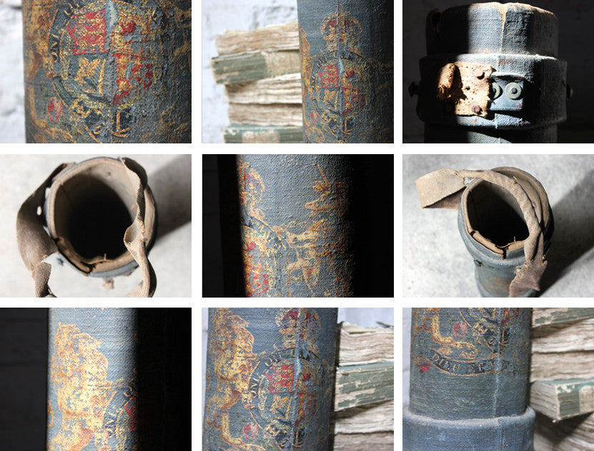 A Decorative c.1900 Blue Canvas Cylindrical Royal Artillery Shell Carrier