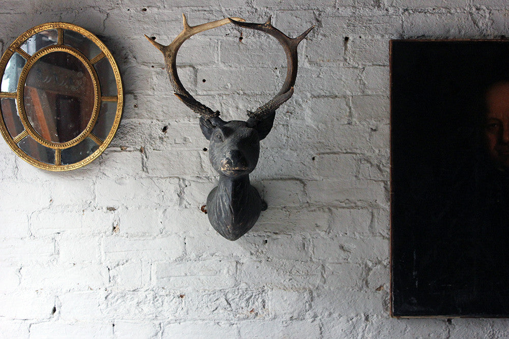 A Good Early Bavarian Carved & Painted Antler Mounted Stag Head Wall Trophy c.1800