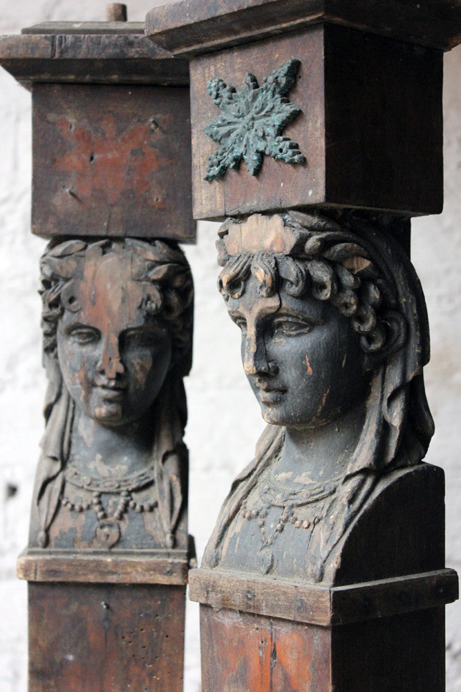 A Good Pair of Georgian Architectural Figural Pilasters in the Form of Caryatids c.1780