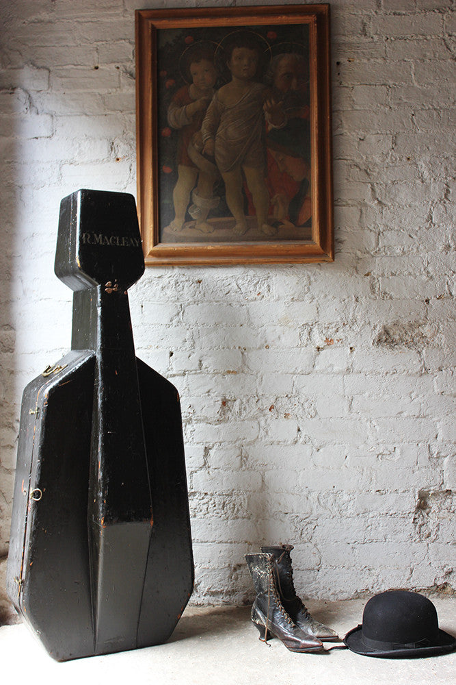 A Wonderful c.1850s Black Painted Cello Case; R.Macleay Esq. by S.A.Forster Soho Sq. London