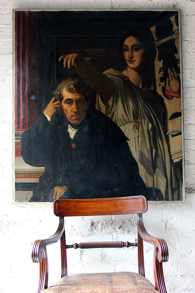 A Large 19thC Neoclassical Oil on Canvas Portrait of Luigi Cherubini and the Muse of Lyric Poetry by P. Juette After Jean-Auguste-Dominique Ingres