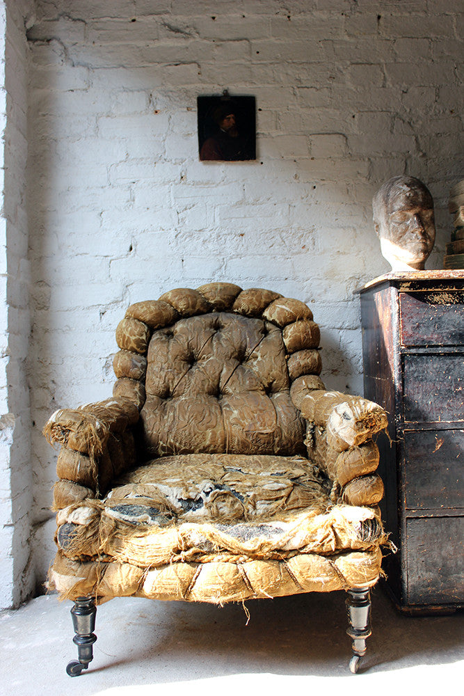 A Gorgeous c.1870 Damask Button-Upholstered Armchair from Chevening House, Surrey