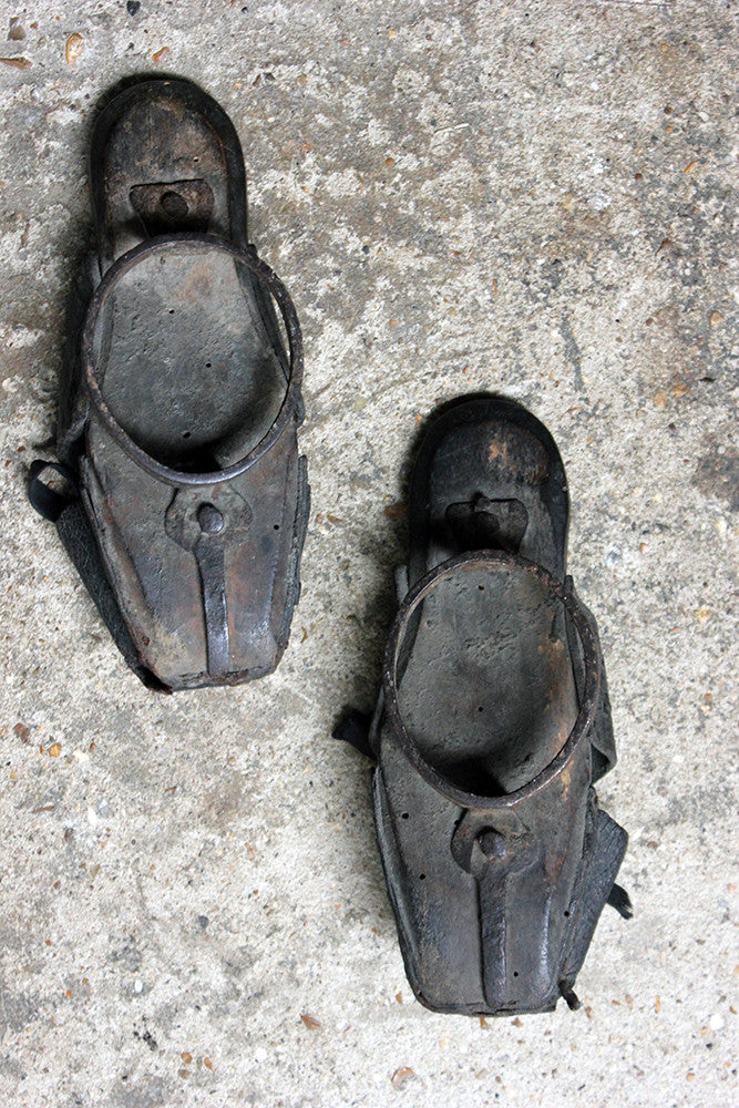 A Rare Pair of Early Children's Leather & Iron Shod Pattens/Overshoes c.1695-1715