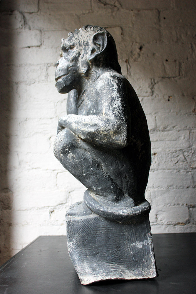 A Fabulous & Unusual Early 20thC Lead Sculpture of a Monkey