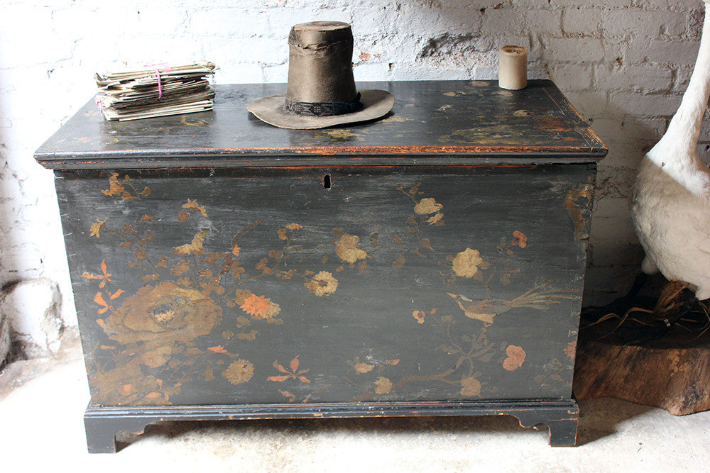 A Decorative c.1810 & Later Black Japanned & Chinoiserie Decoupage Decorated Pine Chest
