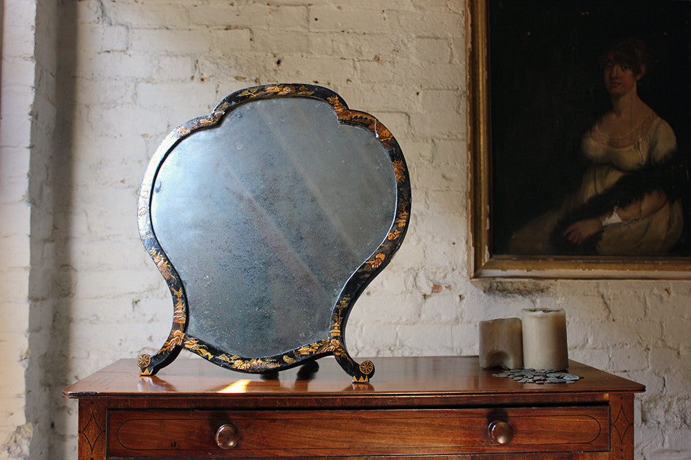 A Very Pretty Early 19thC Japanned Chinoiserie Decorated Easel Back Dressing Mirror c.1800-30