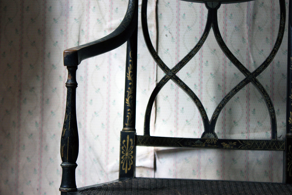 A Chinoiserie Decorated Elbow Chair by Druce and Co, London c.1910