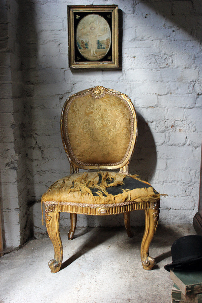 A Pretty George III Chippendale Period Giltwood Single Chair c.1760
