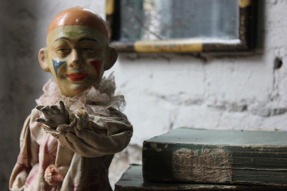 A Scarce c.1880 French Composition Clown Doll