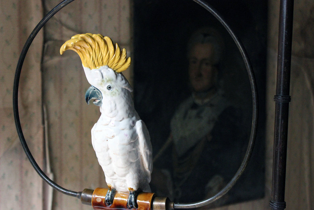 An Unusual Regency & Later Mahogany Bird Perch Stand with Porcelain Cockatoo