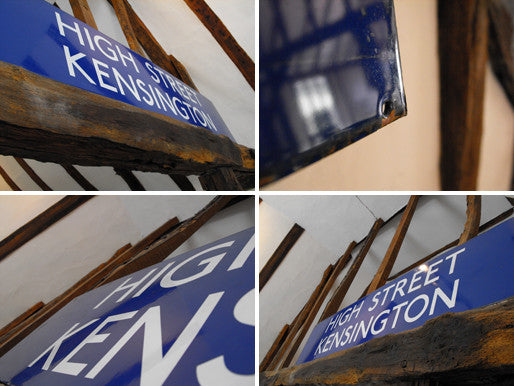 An Original 'High Street Kensington' London Transport Underground Station Platform Sign
