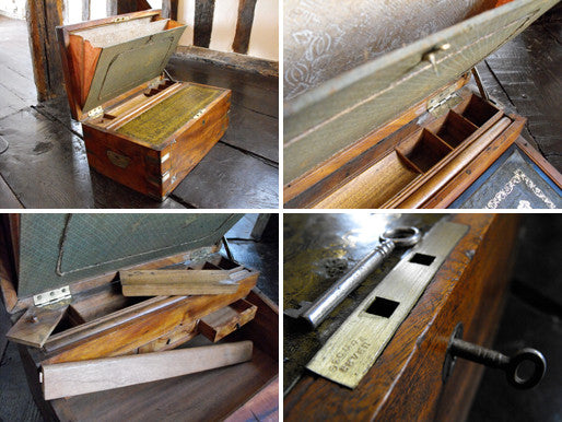 A 19thC Anglo-Colonial Campaign Thuya, Brass Inlaid, & Camphor Wood Lined Writing Slope
