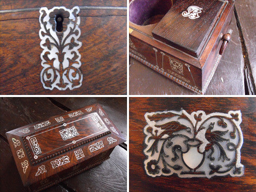 A Regency Rosewood & Mother of Pearl Inlaid Tea Caddy