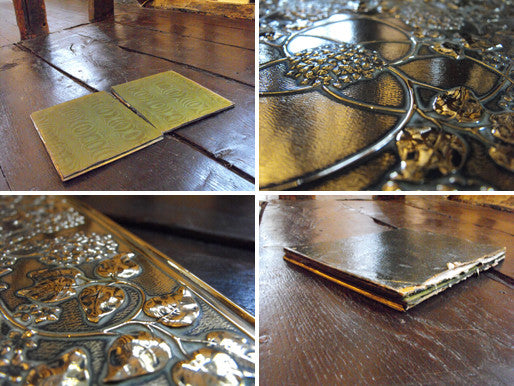 An Arts and Crafts Leather, Silk & Brass Blotter