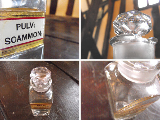 A Late 19thC Glass Apothecary Bottle with Cut Glass Stopper for Scammonea Powder