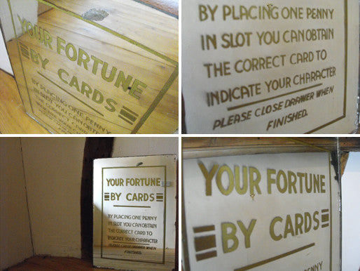 A Rare Early 20thC Mirror Sign for a Coin-Operated Fortune Telling Machine